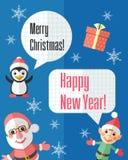 Weihnachtskarte mit Santa Claus und Elfe und Rede sprudelt Lizenzfreies Stockfoto