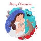 Weihnachtskarte mit Schnee, Mutter und Kind vektor abbildung