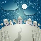 Weihnachtskarte mit schneebedecktem Dorf im Hintergrund lizenzfreie abbildung