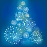 Weihnachtskarte mit Schneeflocken Lizenzfreie Stockfotos