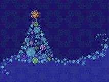Weihnachtskarte mit Schneeflocken, Baum, Verzierung auf Hintergrund Stockbilder