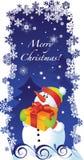 Weihnachtskarte mit Schneemann stock abbildung