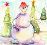 Weihnachtskarte mit Schneemann Lizenzfreies Stockfoto