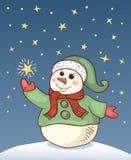 Weihnachtskarte mit Schneemann Stockbild
