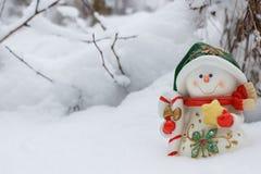 Weihnachtskarte mit Schneemann Stockbilder