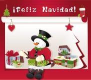 Weihnachtskarte mit Schneemann, Geschenk und feliz navidad Stockbild