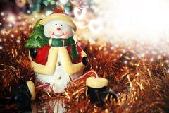 Weihnachtskarte mit Schneemann und mit Platz für Text Stockbilder