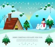 Weihnachtskarte mit Schneemann und snowboy Stockfotografie