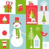 Weihnachtskarte mit Schneemann- und Weihnachtsbaum Lizenzfreies Stockbild