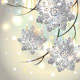 Weihnachtskarte mit silbernen Schneeflocken vektor abbildung