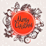 Weihnachtskarte mit Sketchs und Beschriftung Lizenzfreie Stockfotografie