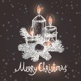 Weihnachtskarte mit Skizzen-Kerzen Stockbilder
