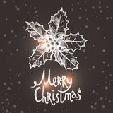 Weihnachtskarte mit Skizzen-Stechpalme Stockfotos