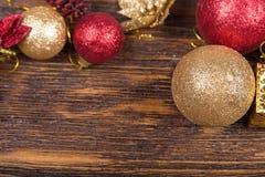 Weihnachtskarte mit Spielwaren Stockbild