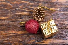 Weihnachtskarte mit Spielwaren Stockfotos