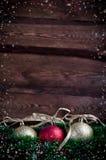 Weihnachtskarte mit Spielzeug drei Lizenzfreie Stockfotos