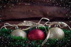 Weihnachtskarte mit Spielzeug drei Stockbild