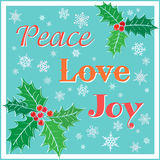 Weihnachtskarte mit Stechpalme und Wörtern stock abbildung