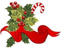Weihnachtskarte mit Stechpalmebeere Stockfotografie