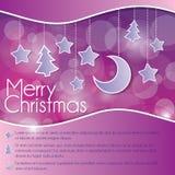 Weihnachtskarte mit Sternen und Mond lizenzfreie abbildung