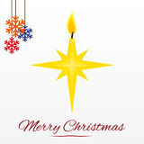 Weihnachtskarte mit Sternkerze Stockfoto