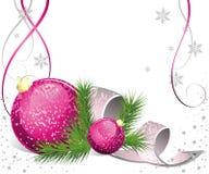 Weihnachtskarte mit Tanne und Kugeln stock abbildung