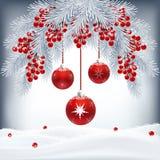 Weihnachtskarte mit Tannenzweigen, Beeren und roten Bällen Stockfotografie