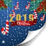 Weihnachtskarte mit Tannenzweigen, 2019, rotem Band und Schnee Vektorpapierillustration stock abbildung