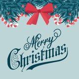 Weihnachtskarte mit Tannenzweigen und Zuckerstangen stock abbildung