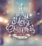 Weihnachtskarte mit unscharfem Hintergrund Stockfotos