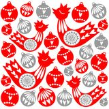 Weihnachtskarte mit Vögeln und Weihnachtsbällen, Illustration Stockbild