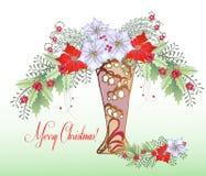 Weihnachtskarte mit Vase und Blumenstrauß Stockbild
