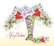 Weihnachtskarte mit Vase und Blumenstrauß der Poinsettias Stockfotografie