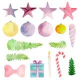 Weihnachtskarte mit verziertem Weihnachtsbaum Clipart des neuen Jahres Stockfotos