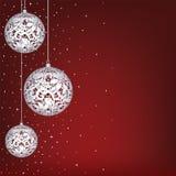 Weihnachtskarte mit weißem Spitzeflitter Stockbild