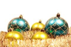 Weihnachtskarte mit Weihnachtenbaum Dekorationen Stockbilder