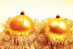 Weihnachtskarte mit Weihnachtenbaum Dekorationen Lizenzfreies Stockbild