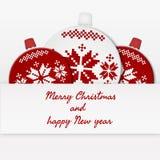 Weihnachtskarte mit Weihnachtsbällen und -grüßen stock abbildung