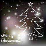 Weihnachtskarte mit Weihnachtsbaum und Lichtern stock abbildung