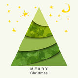 Weihnachtskarte mit Weihnachtsbaum und Sternen Lizenzfreie Stockbilder