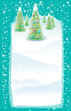 Weihnachtskarte mit Weihnachtsbäumen Stockfotos