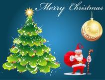 Weihnachtskarte mit Weihnachtsmann Stockfoto