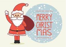 Weihnachtskarte mit Weihnachtsmann Stockbilder