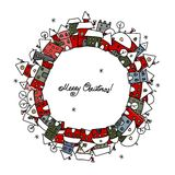 Weihnachtskarte mit Winterstadtskizze für Ihr Stockfotografie