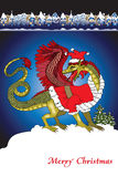 Weihnachtskarte Sankt-Drache Lizenzfreies Stockbild