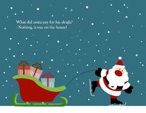Weihnachtskarte: Santa Claus mit Pferdeschlitten Stockfoto