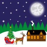 Weihnachtskarte, Santa Claus trägt Geschenke in einem Pferdeschlitten stock abbildung