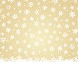 Weihnachtskarte - Schnee auf Goldhintergrund stock abbildung