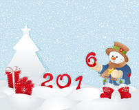 Weihnachtskarte, -Schneemann und -baum Lizenzfreies Stockbild