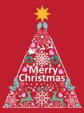 Weihnachtskarte und -hintergrund mit Kiefer vector Format Stockfotos